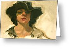 Girl In A Floppy Hat Greeting Card