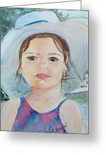 Girl In A Hat Portrait Greeting Card