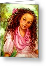 Girl In A Pink Dress Greeting Card