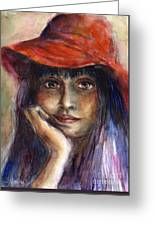 Girl In A Red Hat Portrait Greeting Card