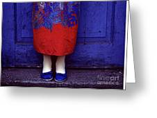 Girl In Colorful Flower Dress Greeting Card