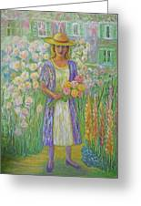 Girl In Monet's Garden At Giverny Greeting Card