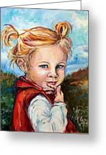 Girl In Red Jumper Greeting Card