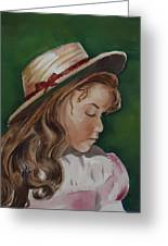 Girl In Ribboned Straw Hat Greeting Card