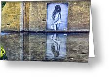Girl In The Mural Greeting Card