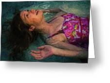 Girl In The Pool 11 Greeting Card