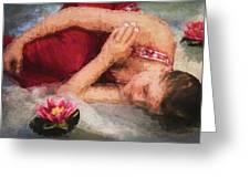 Girl In The Pool 2 Greeting Card