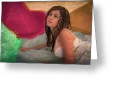 Girl In The Pool 4 Greeting Card