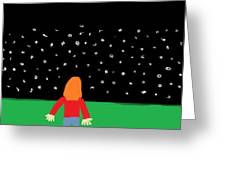 Girl In The Starry Night Greeting Card