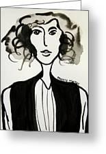 Girl In Vest Greeting Card