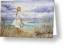 Girl And Ocean Watercolor Greeting Card