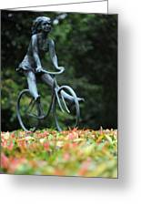Girl On A Bicycle Greeting Card