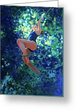 Girl On A Rope Greeting Card by Kevin Lawrence Leveque
