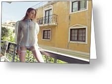 Girl On Balcony Greeting Card