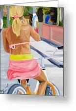 Girl On Bike Greeting Card