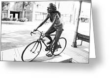 Girl On Bike Sculpture Grand Junction Co Greeting Card