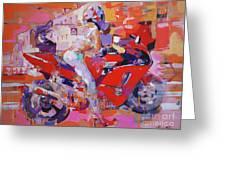 Girl On Red Bike Greeting Card