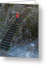 Girl On Stairs Greeting Card