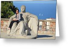 Girl On Statue Mt. Juic Barcelona Greeting Card