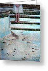 Girl On Steps Of Empty Pool Greeting Card