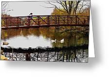 Girl On The Bridge Greeting Card