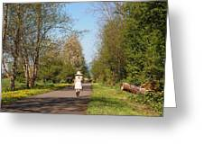 Girl On Trail In Straw Hat Greeting Card