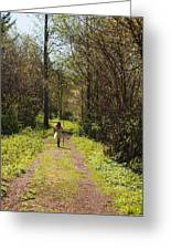 Girl On Trail With Walking Stick Greeting Card