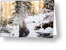 Girl Playing In The Snow In The Woods Greeting Card