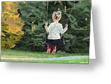 Girl Playing Outside Greeting Card