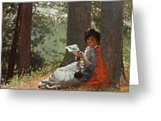 Girl Reading Under An Oak Tree Greeting Card