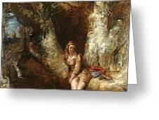 Girl Seated Beside A Woodland Pool Greeting Card