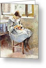 Girl Sewing Greeting Card