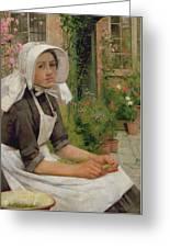 Girl Shelling Peas Greeting Card