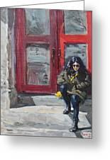 Girl Sitting At Red Doorstep Greeting Card
