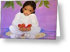 Girl Sitting Under Mango Tree Greeting Card