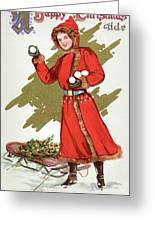 Girl Throwing Snowballs In A Christmas Landscape Greeting Card