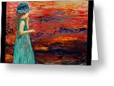 Girl Watching Sunset Greeting Card