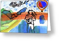 Girl With A Bat Greeting Card