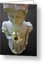 Girl With A Bubble Greeting Card by Guy Ricketts