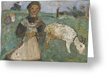 Girl With A Goat  Greeting Card