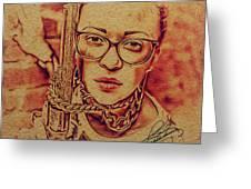 Girl With A Gun Greeting Card
