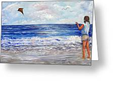 Girl With A Kite Greeting Card