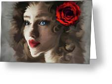 Girl With A Red Rose.. Greeting Card