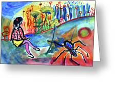 Girl With A Spider Greeting Card