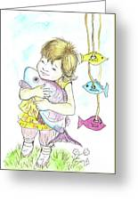 Girl With A Toy-fish Greeting Card