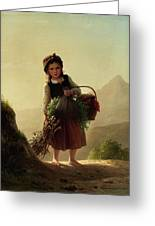 Girl With Basket Greeting Card