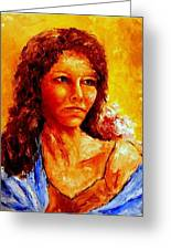 Girl With Blue Shawl Greeting Card