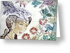 Girl With Butterflies Greeting Card
