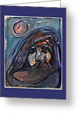 Girl With Cat And Moon Greeting Card