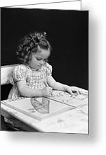 Girl With Coloring Book, C.1960-40s Greeting Card